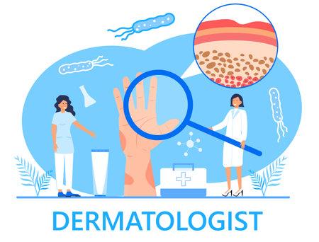 Dermatologist concept vector for medical websites and landing pages, blog. Disease of the skin and dermatological problems. Psoriasis, vitiligo, dermatitis, human rash.