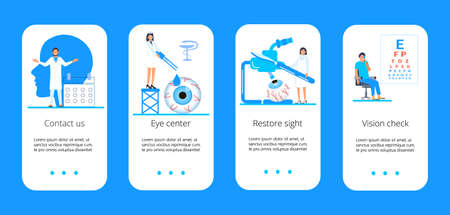 Medical ophthalmologist concept vector. Eyesight check up with tiny people character concept for apps, banner, flyer, card, UI. Ilustracja