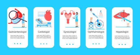 Cardiologist, gastroenterologist, ophthalmologist app template vector. Hepatology concept illustration. Heart, liver, uterus, eye medication