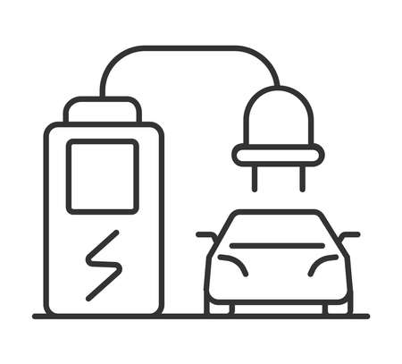 Charge station icon vector for electric vehicles. Power electric delivery station for electric car, scooters, motorbikes. Green eco energy Ilustração