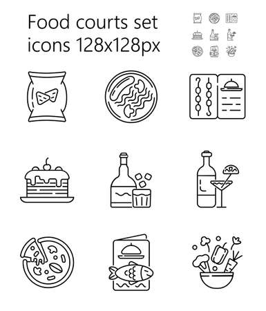 Food court icon set vector. Pizza, alcohol, drinks are shown. Grill, fish, seafood menu. Snacks, salad, torts are presented in outline