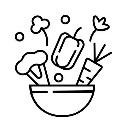 Seasonal menu icon in outline style. Cauliflower, peppers, carrots, vegetables fall into the bowl. Parsley, celery and peas are added to the dish. Vegan food or salad