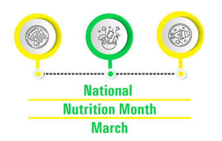 National Nutrition Month concept vector. Event is celebrated every March. Healthy and unhealthy food are shown. Sausage with pasta and mushrooms on a plate. Cauliflower, peppers, carrots, vegetables. Ilustração