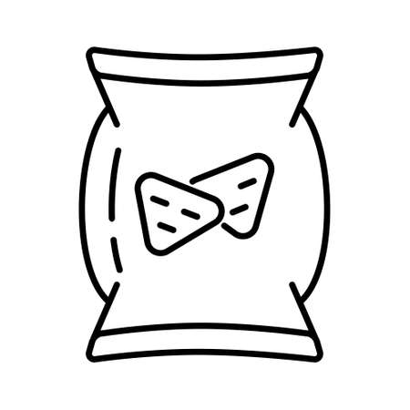 Snacks icon vector. Packaging of crunchy crackers, chips in outline style. Fast food sign. Ilustração