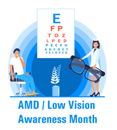 AMD, Low vision awareness month event is celebrated in February. Medical ophthalmologist eyesight check up concept vector. Eye doctor illustration for health care web banner, post. Vector Illustration