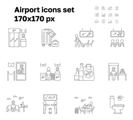 Airport icon set vector. Boarding gate, receipt of baggage are shown. Arrivals, departure areas. Customs, security control working. Reception and passenger check-in. Duty-free bag and lounge zone