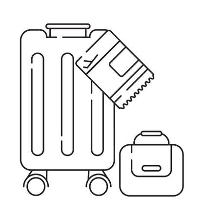 Receipt of baggage icon vector in outline style. Bags, luggage and pass Ilustração