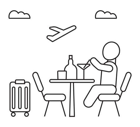 Airport cafe icon vector. Man sitting and eating. Luggage, chairs, airline are shown. Bottle, glass