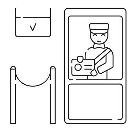 Customs icon vector in outline style. Officer checks the passport, stamps it, and gives touristic visa. Green zone of customs