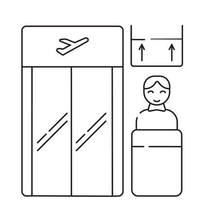 Boarding gate icon vector. Control of handle baggage. Airline employee standing. Screen with arrows Ilustração