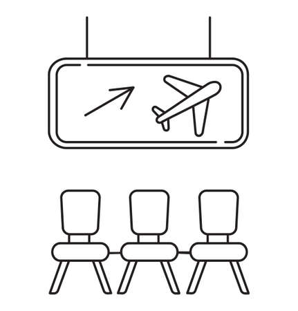 Departure area icon vector. Airport transit zone sign in outline style is shown. Dashboard with airline and arrow