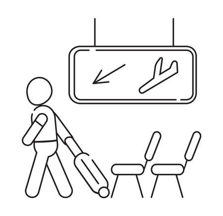 Arrival area icon vector. Airport transit zone sign in outline style is shown. Man pulling suitcase. Dashboard with airline