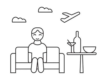 Lounge area icon vector. Tourist sitting on the sofa and waiting check in. Bottle, cocktail, bowl are on the table. Airline departure