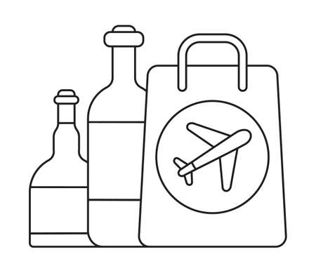 Duty free icon vector in outline style. Bag with bottle are shown. Airline sign on the bag