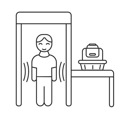 Security control icon vector in outline style. Man standing in metal detector frame. Bag in basket on the table. Airport security screening