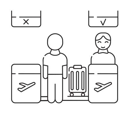 Reception, check-in vector icon. The passenger checks in their luggage. Control of weight of the transported baggage.
