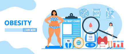 Obesity concept vector. Obsessive woman eats unhealthy food. Diabetes, atherosclerosis, hypertension, heart disease risk are complications in flat style. Fat girl is smiling. Body positive. Ilustração