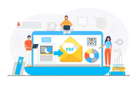 PDF converter from jpeg, word document concept. Screen with changing or converting process of document to another format. Flat vector illustration for app, website, banner, landing page.