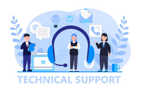 Technical support or call center concept vector. Big headphone and assistants are shown. Digital or AI technology illustration. Hotline in company.