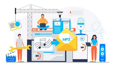 MP3 converter concept with tiny people. Screen with changing or converting process of document to another format. Audio compression. Flat vector illustration for app, website, banner, landing Ilustração