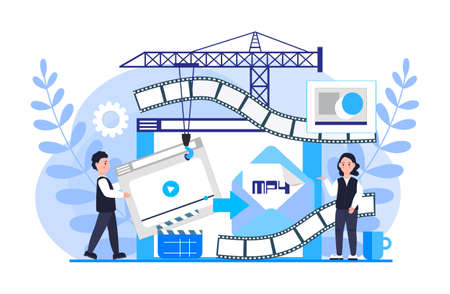MP4 converter concept with tiny people. Screen with changing or converting process of document to another format. Movie compression. Flat vector illustration for app, website, banner, landing page.
