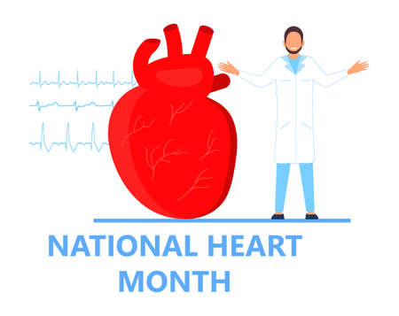 National Heart Month concept vector. Heart diseases with medical bag and EKG. Medical template of hypotension and hypertension disease. American protection campaign in February. Ilustração