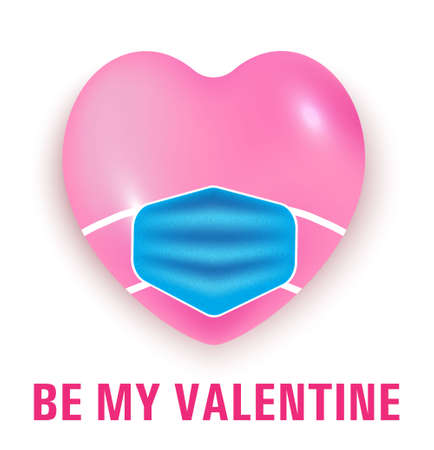 Valentine day in virus concept vector in realistic style. Big pink 3d heart is wearing medical mask. Happy and safe during quarantine in valentine holiday.