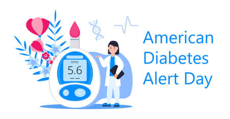 American Association Diabetes Alert Day concept vector in flat style. Event is observed annually on the fourth Tuesday in March. Doctor and glucose meter are shown