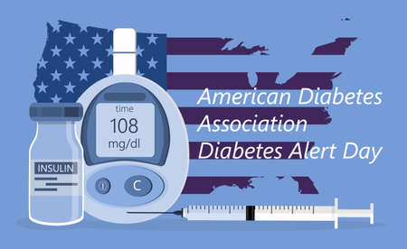 American Association Diabetes Alert Day concept vector in flat style. Event is observed annually on the fourth Tuesday in March. Glucose meter are shown Ilustração