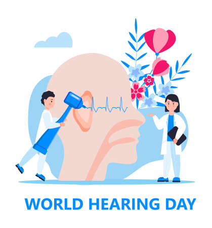 World hearing day concept vector for medical banner, web, app. Tiny doctor treats and examines patient ear. Otolaryngology health care illustration.