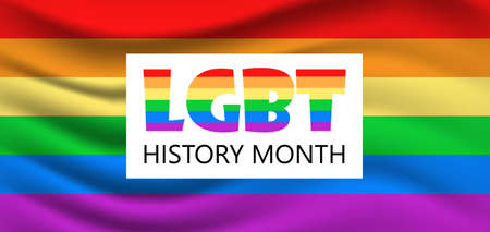 LGBT flag vector banner, poster, web on the white background. Background are painted in LGBT pride rainbow colors. Illustration for history month is celebrated.