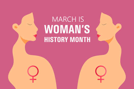Woman history month concept vector on flat style. Event is celebrated in March in USA, United Kingdom, Australia. Girl power and feminism illustration for web, poster, banner.