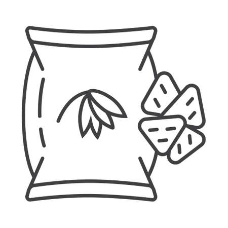 Oatmeal cookies, chips icon in outline style. Oatmeal cereal cooking and fast breakfast are shown. Package of crunchy cakes illustration.