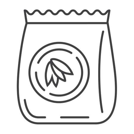 Oatmeal flour bag icon vector. Package of oat in outline style. Oatmeal cereal, chips and fast breakfast are shown.
