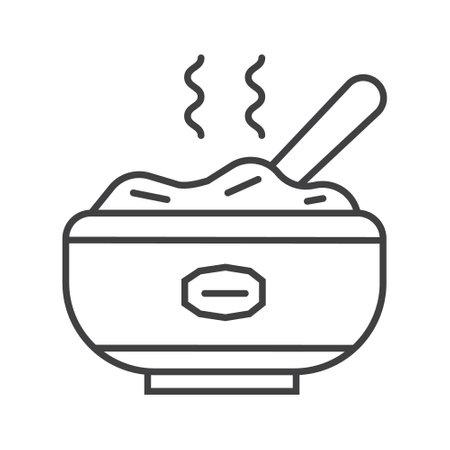 Oatmeal porridge icon in outline style. Porridge in pot, plate symbol. Oatmeal cereal coocking and fast breakfast are shown. Ilustração