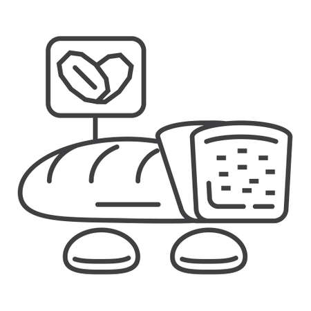 Oatmeal bread icon vector. Cookies, loaf in outline style. Oat corns symbols. Oatmeal cereal and fast breakfast are shown.