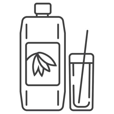 Oatmeal milk icon in outline style. Porridge in plastic container symbol. ereal and fast breakfast are shown. Oatmeal yogurt, ottage cheese, sour cream, kefir illustration.