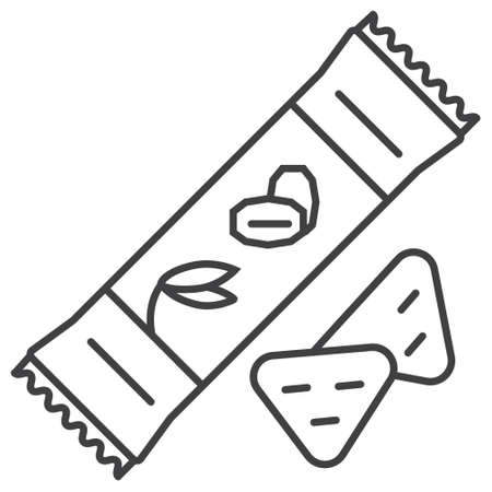 Granola candy bar icon. Oatmeal cookies, cake sign in outline style. Oatmeal cereal, chips and fast breakfast are shown. Ilustração