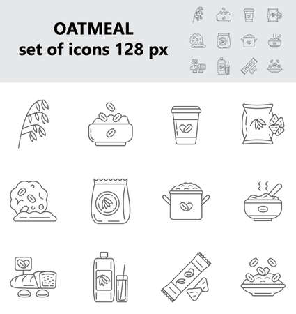 Oatmeal icons set vector in big and small size. Oat, flour bag. Cookies, package of milk, granola candy bar signs. Porridge in pot, plate symbols. Oatmeal cereal, chips and fast breakfast are shown.