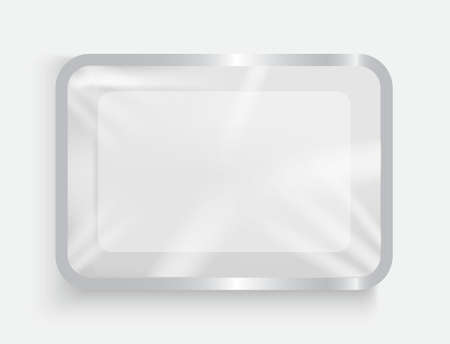 White plastic container with plastic film for food products. 3d empty package, the substrate for food in the supermarket. Ilustração