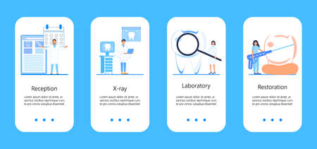 Dental services vector concept for app, social stories. Tiny dentists make x-ray scan of teeth. Whiten enamel or recovery implant concept. Professionals of odontology work, treat illness tooth. Ilustração