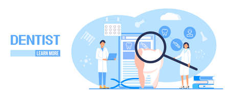 Dental services vector concept for landing page. Dentists make x-ray scan of teeth to help toothache, to whiten enamel or recovery implant. Professionals of odontology work, treat illness tooth. Ilustração