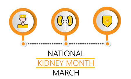 National kidney month concept vector. Heath care event is celebrated in March. Kidneys, doctor, shield icons are shown.