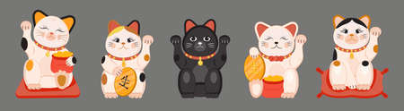 Maneki neko vector set isolated on brown background. Lucky cat in japanese traditional culture. Talisman or mascot symbol in flat style.
