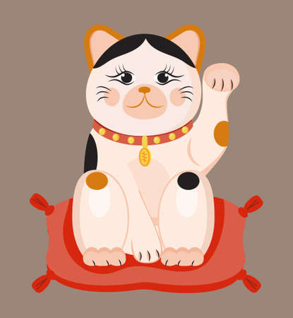 Maneki neko vector isolated on brown background. Lucky cat in japanese traditional culture. Talisman or mascot symbol in flat style. Ilustração