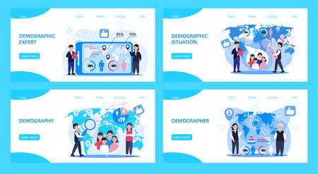 Demographer concept vector for landing page. Growth population in the world. Demographic experts analyzing data numbers of women, men, families. Diagrams, map, label Ilustração