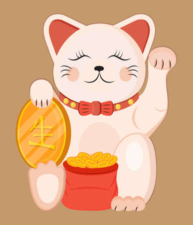 Maneki neko vector isolated on brown background. Lucky cat in japanese traditional culture. Talisman or mascot symbol