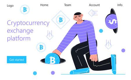 Cryptocurrency exchange platform concept vector for landing page. Blockchain world currency exchange services. Huge man putting in money portal bitcoin Ilustração