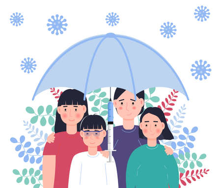 Family vaccination concept vector. Time to vaccinate for adult and children for protection against virus, flu, measles. Big umbrella with syringe Ilustração