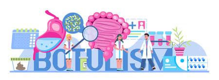 Botulism concept vector. Tiny doctors treat stomach, intestine. Food poisoning, botulinum toxin infection. Gastroenterology illustration for medical blog website.